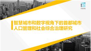智慧城市和数字视角下的首都城市人口管理和社会综合治理研究